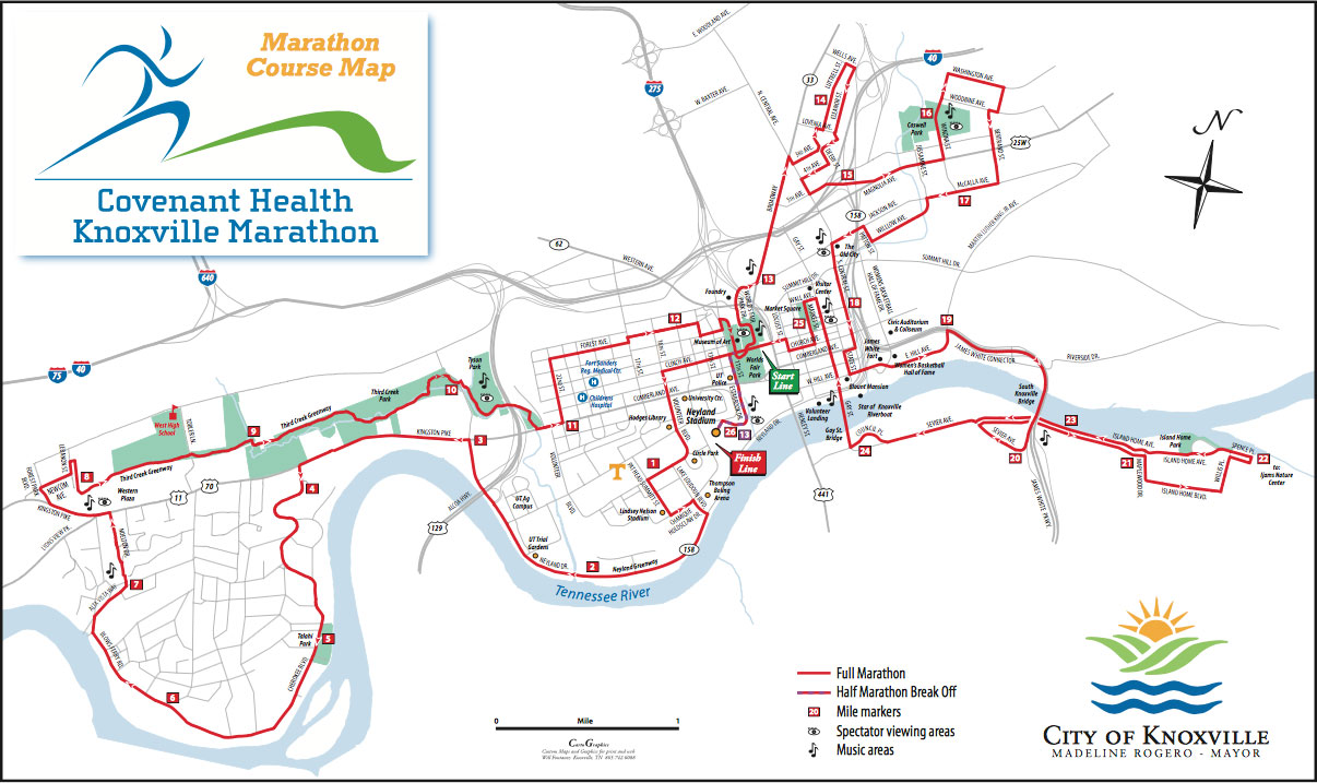 course maps  knoxville marathon - full marathon and half marathon map